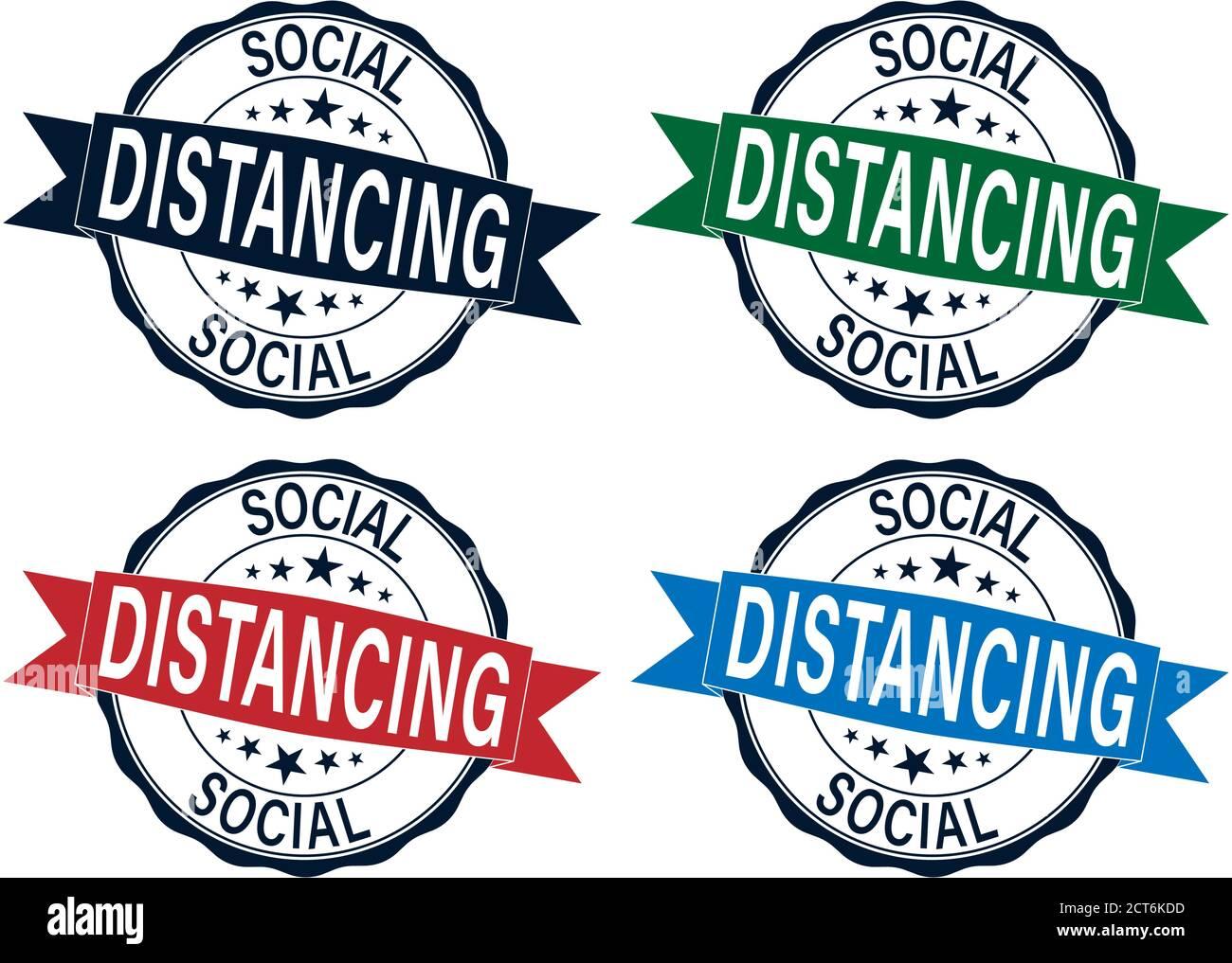 Social distanciamiento color goma sello vector establecido aislado para social concepto de distanciamiento Ilustración del Vector