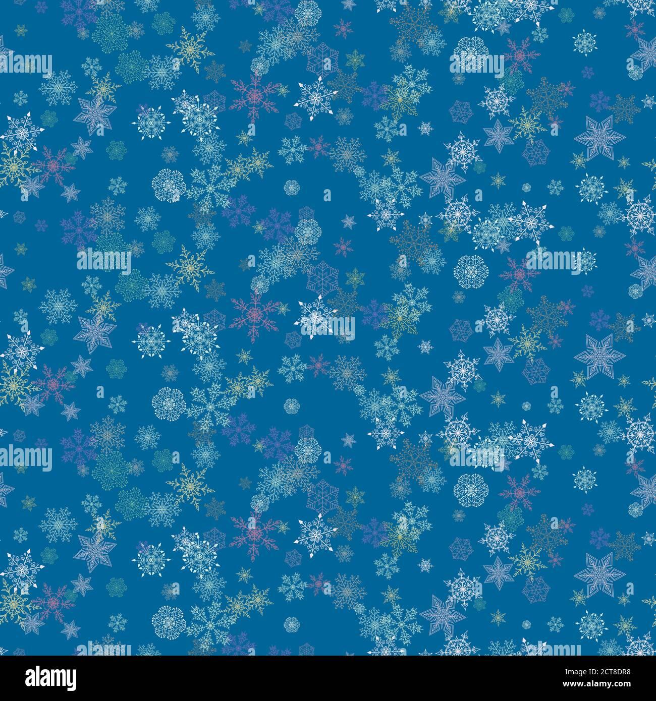 Hermoso fondo de Navidad sin costuras con varios complejos copos de nieve de colores brillantes en azul. Diseño plano moderno. Fondo de pantalla de vacaciones. Invierno infini Ilustración del Vector
