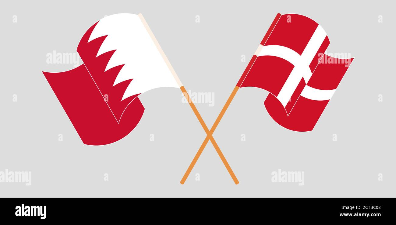 Banderas cruzadas y agitadas de Bahréin y Dinamarca. Ilustración vectorial Ilustración del Vector