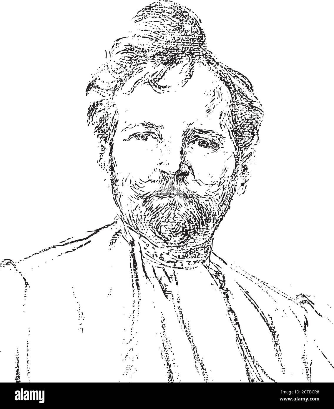 Retrato vectorial de Alphonse Mucha. Alfons Maria Mucha (1860 – 1939), conocida internacionalmente como Alphonse Mucha, fue un pintor, ilustrador y gra checo Ilustración del Vector
