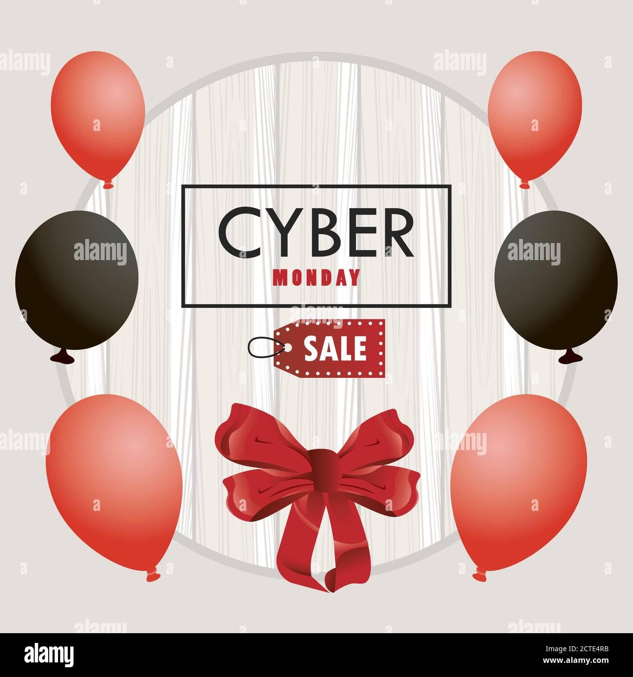 cartel de cyber monday con globos en color rojo y negro helio en madera fondo vector ilustración diseño Ilustración del Vector