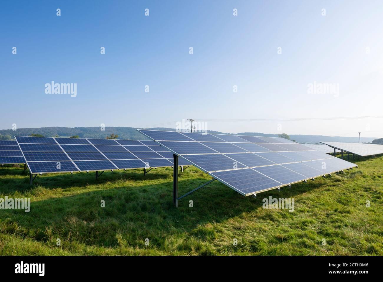 Paneles solares en un campo que genera electricidad cerca de Churchill, North Somerset, Inglaterra. Foto de stock