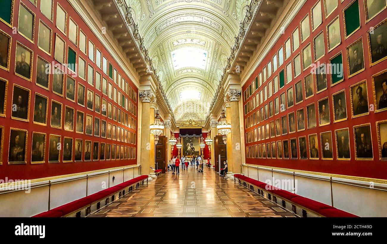Interior del Hermitage del Estado, un museo de arte y cultura en San Petersburgo, Rusia. Foto de stock