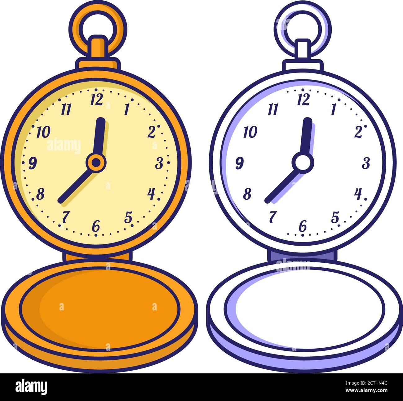 Reloj De Bolsillo Libro Para Colorear Para Niños Fideos Contorneados Imagen Vector De Stock Alamy