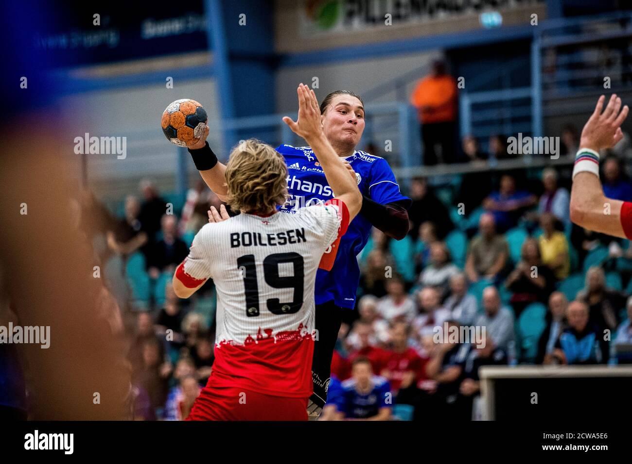 Kolding, Dinamarca. 28 de septiembre de 2020. Nicolaj Norager (88) de Fredericia HK visto en el partido de la liga Danish Men's Handball entre KIF Kolding y Fredericia HK en el Sydbank Arena en Kolding. (Crédito de la foto: Gonzales Photo/Alamy Live News Foto de stock
