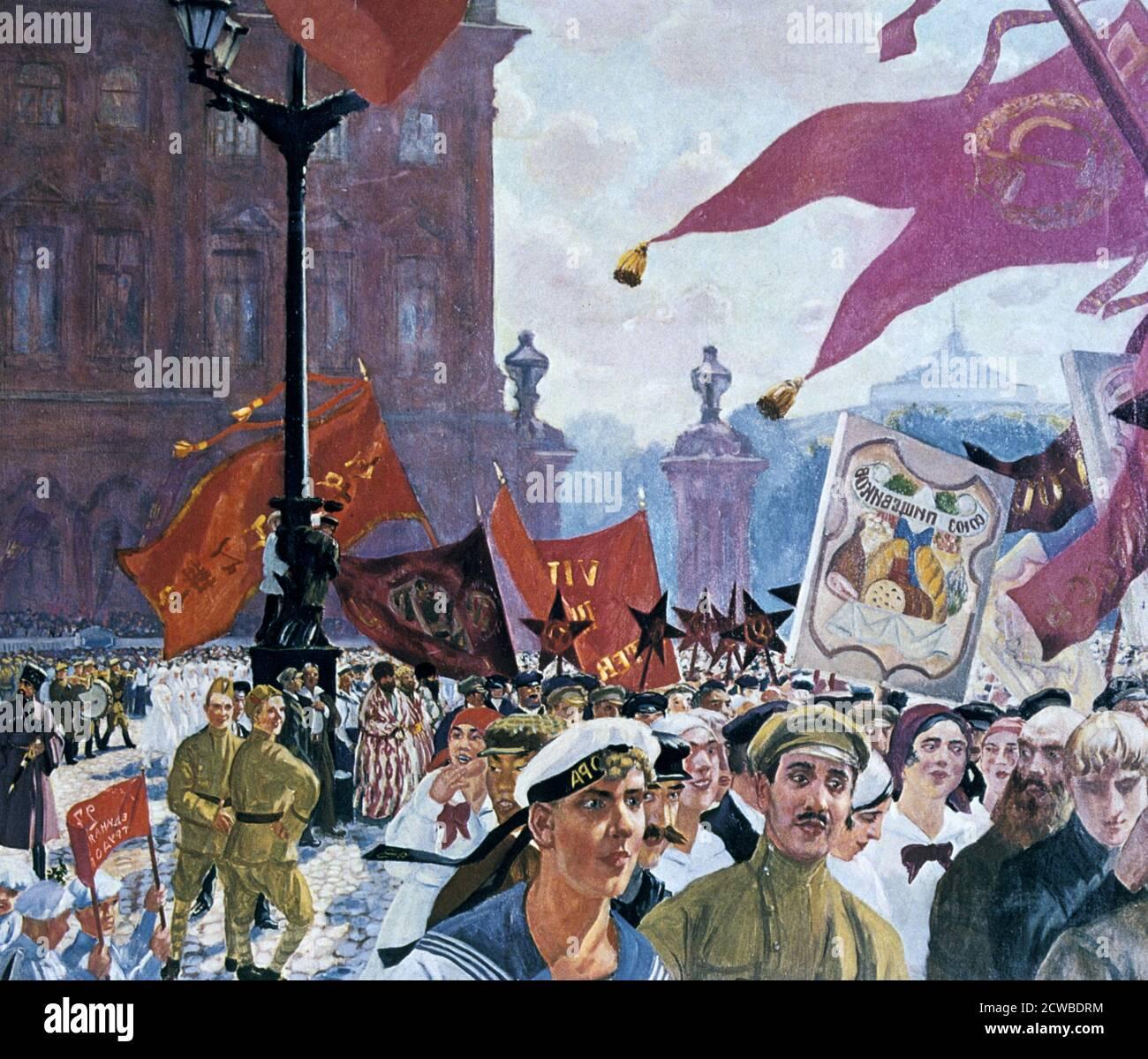 Fiestas que marcan la apertura del segundo congreso de la Comintern', 1921. Artista: Boris Mikhaylovich Kustodiev. Boris Mikhaylovich Kustodiev fue un pintor y diseñador de escena ruso. Foto de stock