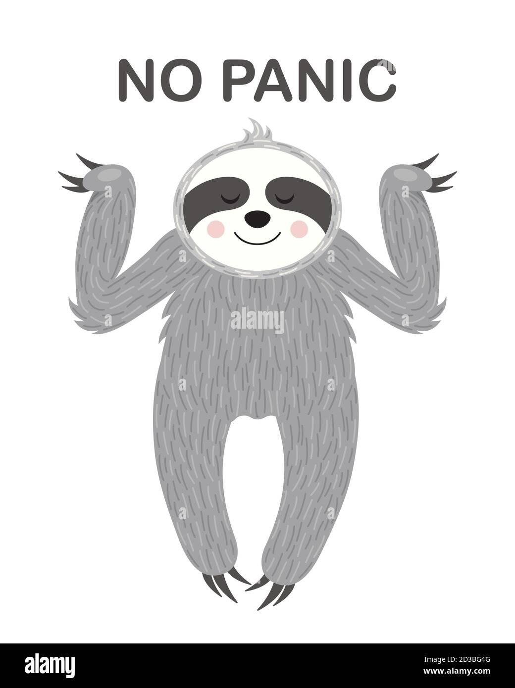 Perezoso relajado. Ilustración vectorial. Un cartel divertido y lindo Ilustración del Vector