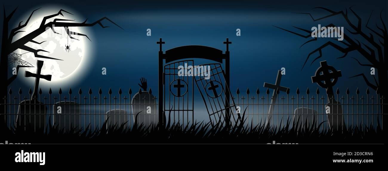 Antiguo cementerio de miedo con lápidas y cruces. Especial para Halloween. EPS 10 Ilustración del Vector