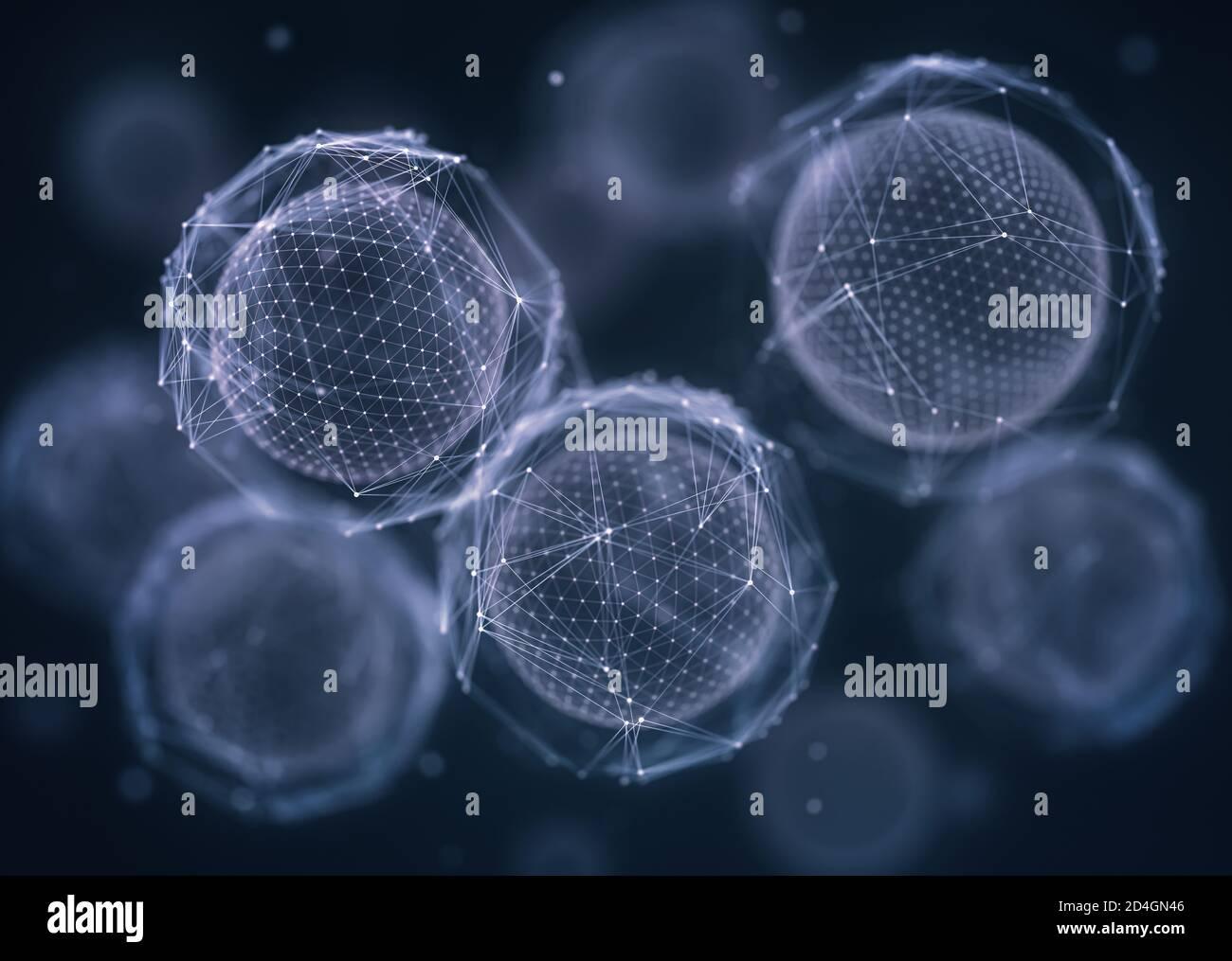 Biotecnología o biotecnología, concepto de creación, división y desarrollo celular. Alta tecnología orgánica con fines productivos. Foto de stock
