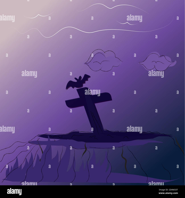 Cementerio de miedo por la noche Ilustración del Vector