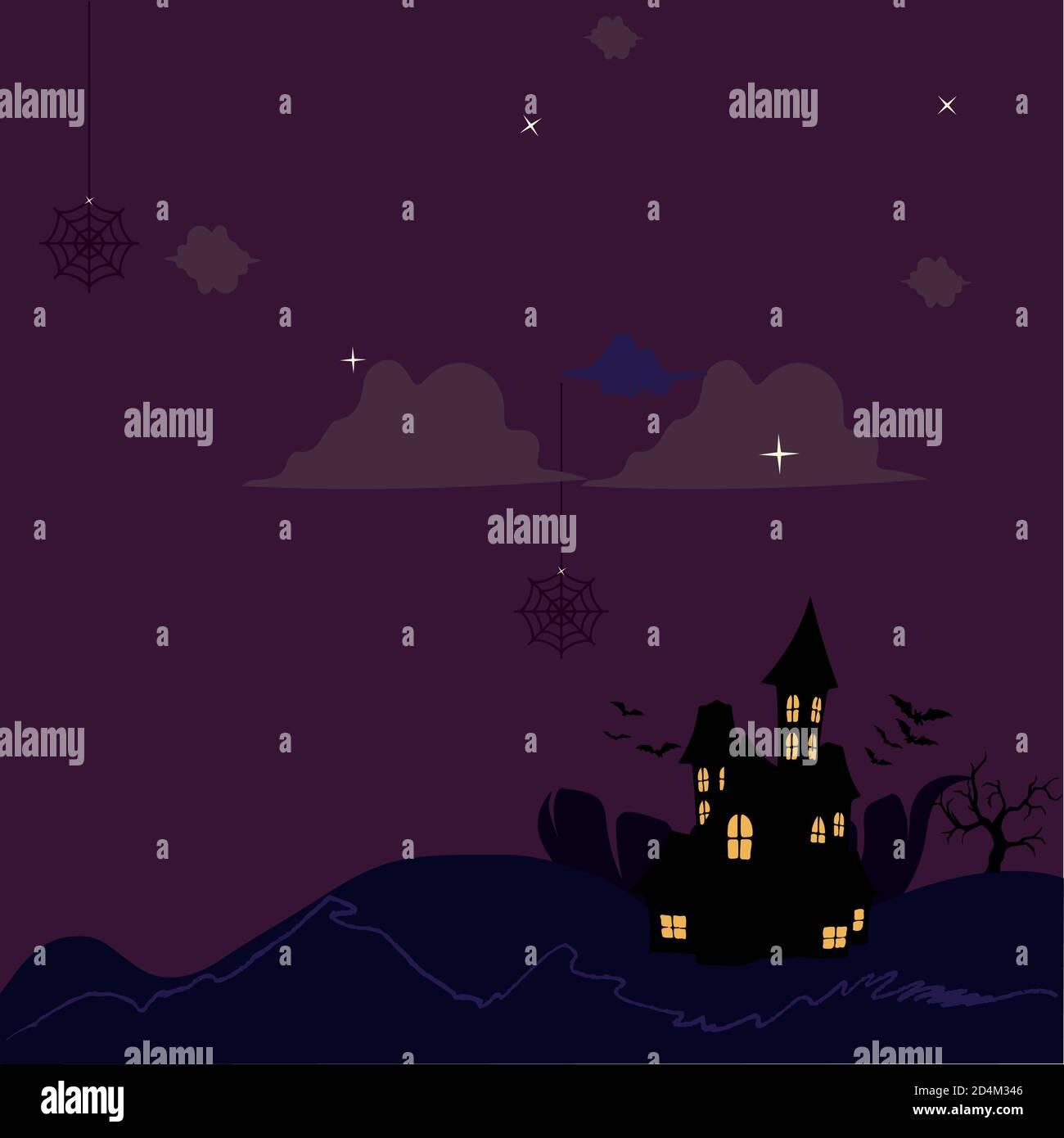 Castillo de miedo en una noche oscura Ilustración del Vector