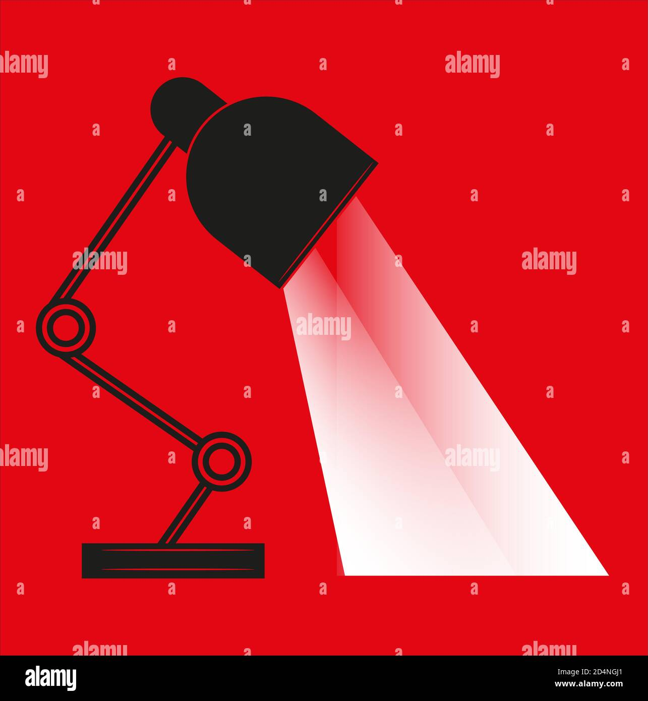 Lámpara de mesa ilustración vectorial diseño plano con ejes de luz aislados sobre un fondo rojo. Ilustración del Vector