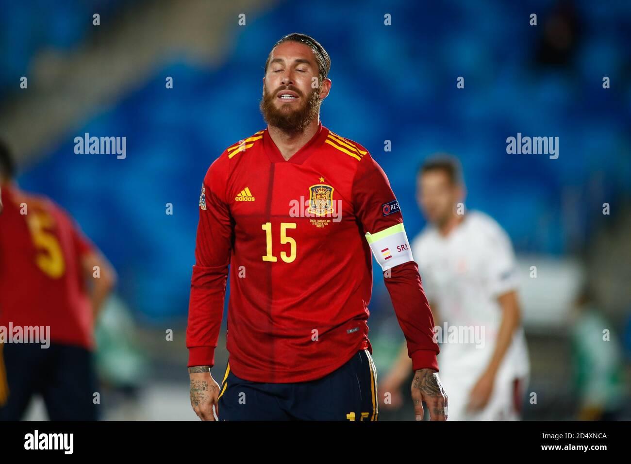 Ergio Ramos de España durante el partido de fútbol de la Liga de las Naciones de la UEFA entre España y Suiza el 10 de octubre de 2020 en el estadio Alfredo Di Stefano en Foto de stock