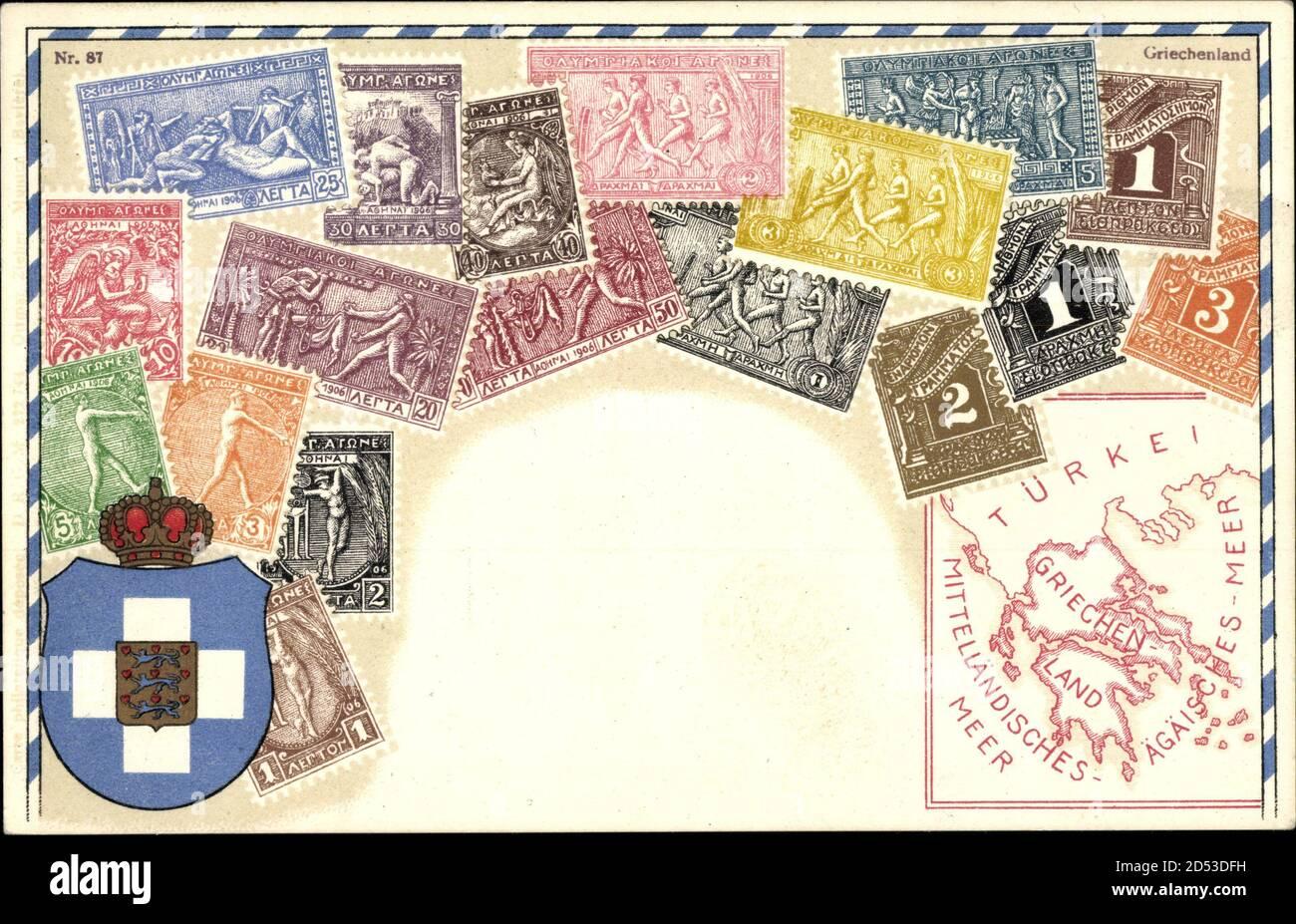 Briemarken Wappen Griechenland, Olympische Szenen, Türkei, Ägäis, Drachmen   uso en todo el mundo Foto de stock