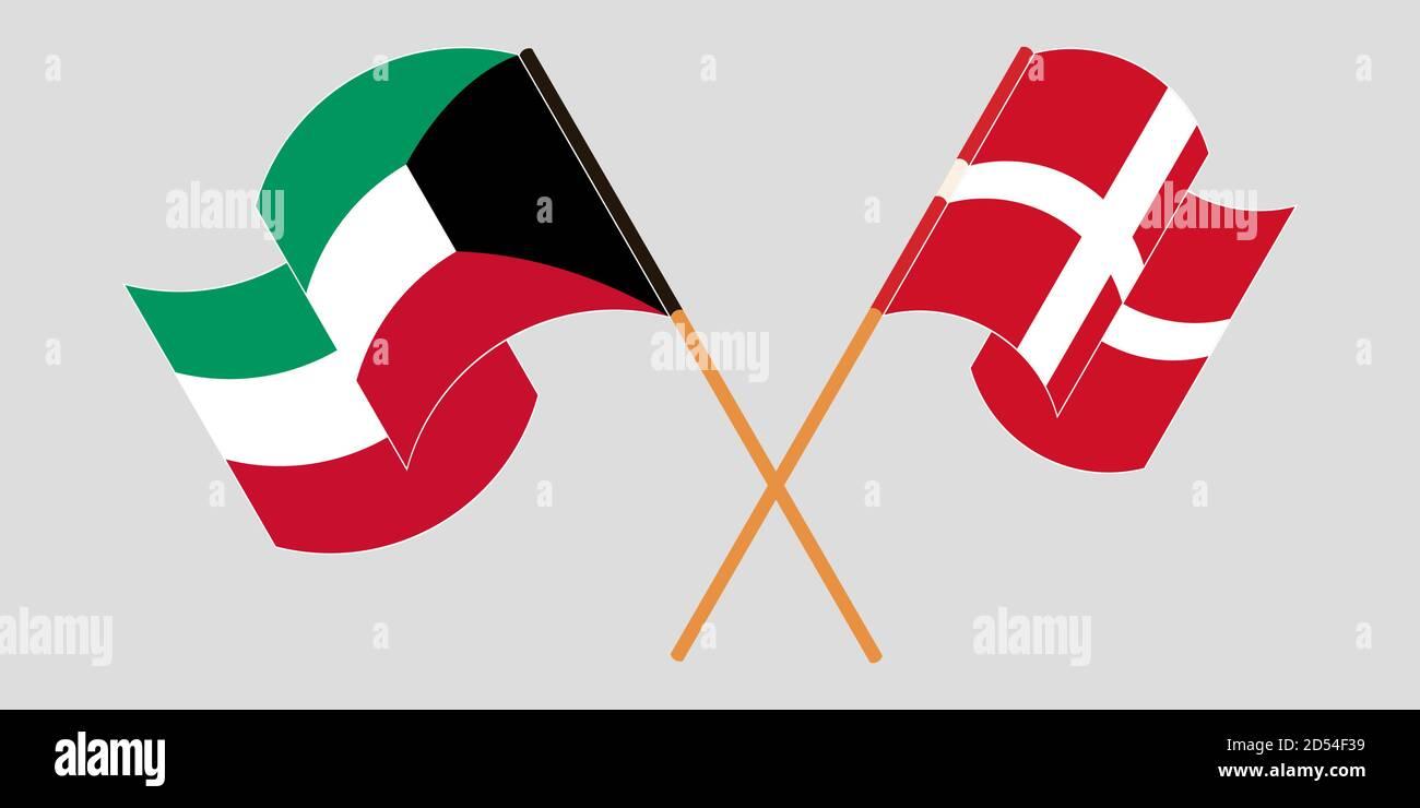 Banderas cruzadas y agitadas de Kuwait y Dinamarca. Ilustración vectorial Ilustración del Vector
