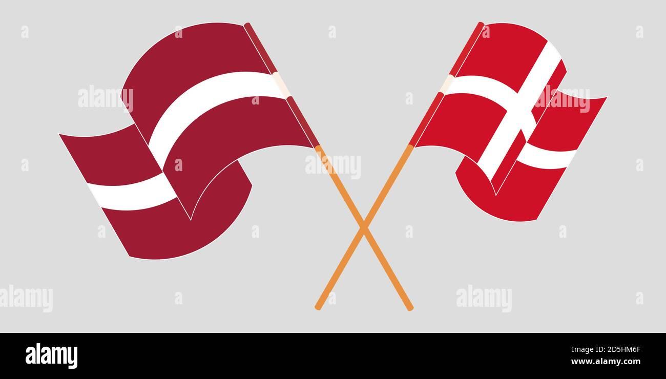 Banderas cruzadas y agitadas de Letonia y Dinamarca. Ilustración vectorial Ilustración del Vector