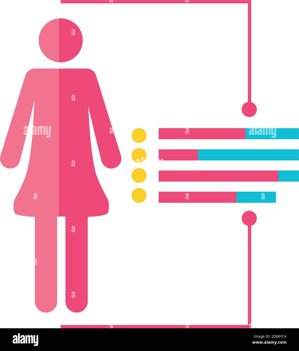 análisis de datos de la mujer proceso avatar ilustración vectorial detallada Ilustración del Vector