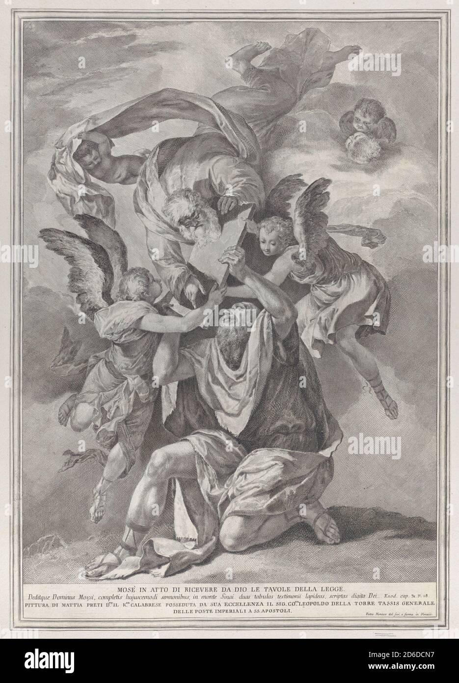 Moisés recibió las tablas de la Ley de Dios que desciende de los cielos; de la serie de 112 impresiones de la historia sagrada, después de la pintura de Mattia Preti, ca. 1730-39. Foto de stock