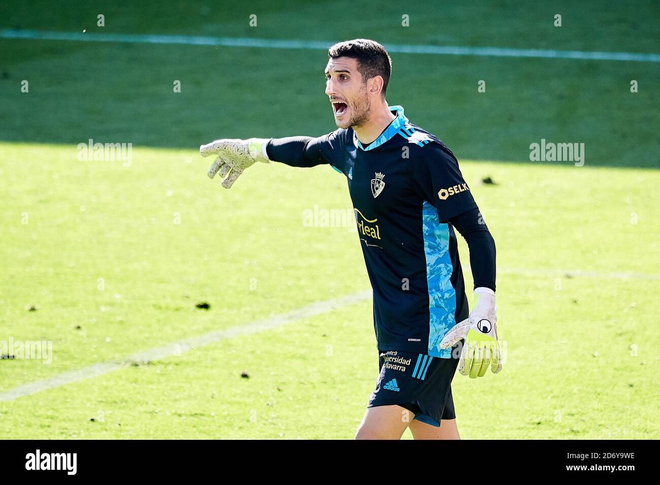 Ergio Herrera de Osasuna durante el campeonato español la Liga de fútbol entre SD Eibar y CA Osasuna el 18 de octubre de 2020 en el municipio de Ipur Foto de stock