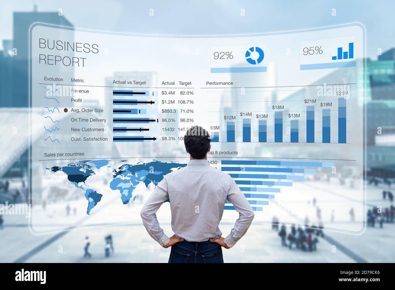 Informe de negocio con métricas, indicadores de rendimiento y gráficos que resumen los datos de ventas y beneficios en comparación con los objetivos y las tendencias del mercado. Exec. De negocios Foto de stock