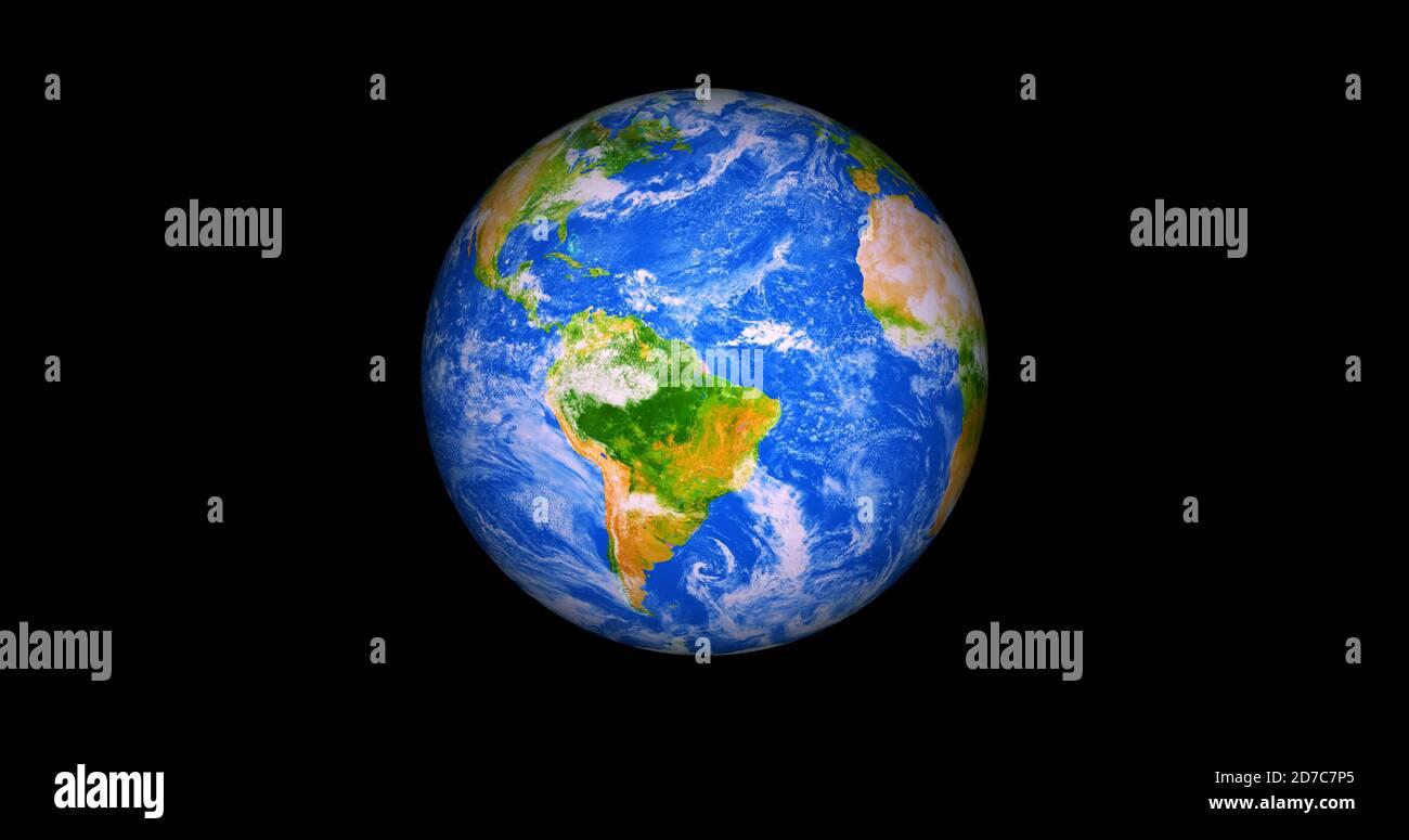 Hermosa foto realista 3d tierra en el espacio. .vista frontal de la tierra desde el espacio con nubes y paisajes verdes vista completa tierra resolución 4k. Foto de stock