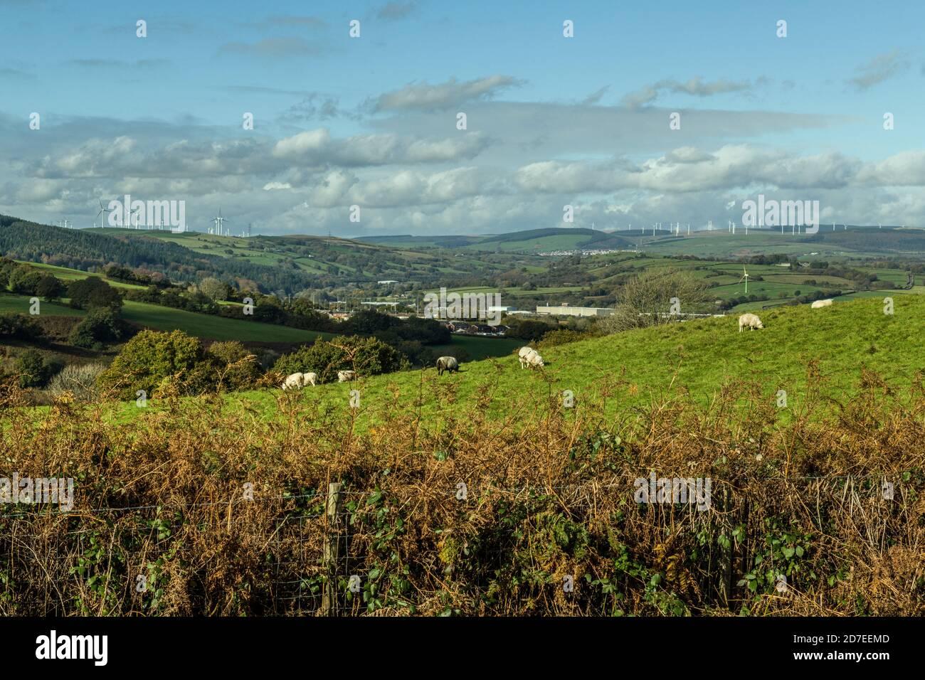 Un paisaje del sur de gales desde una ladera fuera de Llantrisant. En la distancia están los aerogeneradores y en la distancia media es un parque industrial. Foto de stock