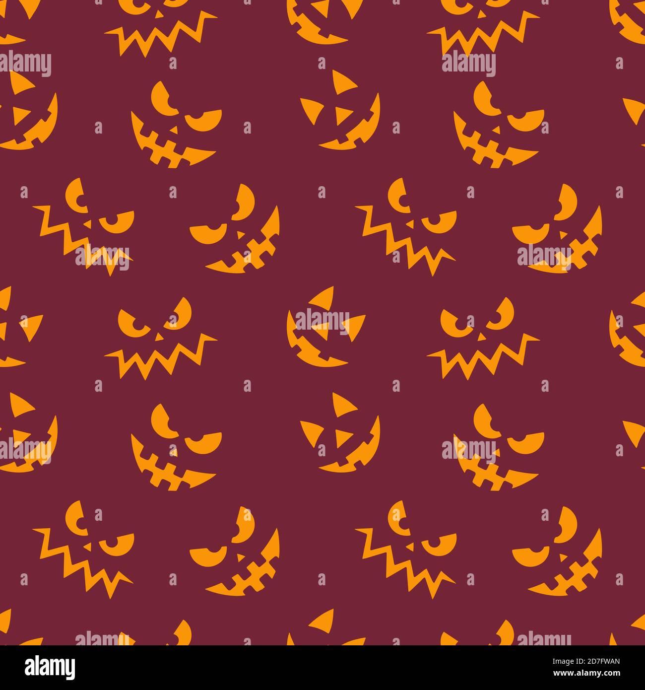 Halloween sin costuras patrón con calabazas cara emoji, gritos expresiones Ilustración del Vector