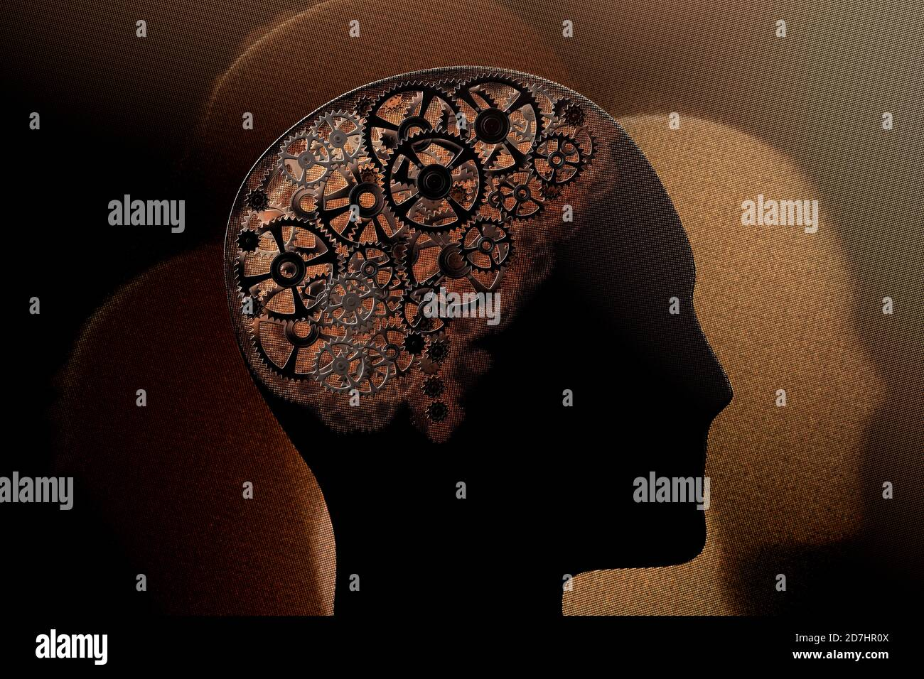 Representación 3D de una imagen conceptual de un cerebro humano hecho de ruedas dentadas. Foto de stock