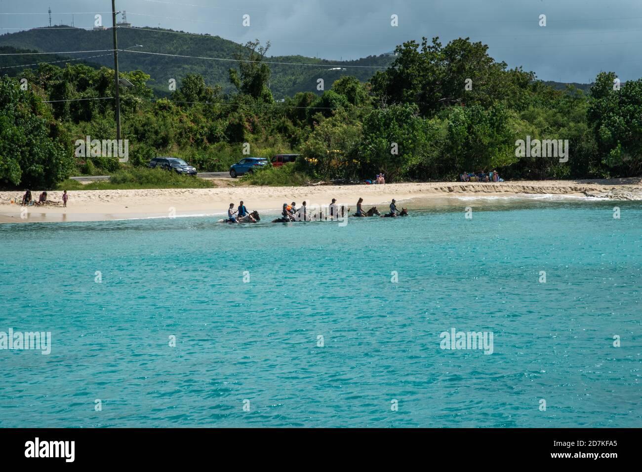 Frederiksted, Santa Cruz, Islas Vírgenes de EE.UU.-17 de febrero de 2020: Turistas paseos a caballo en la playa con las Cowgirls Cruzan en Santa Cruz, VI Foto de stock