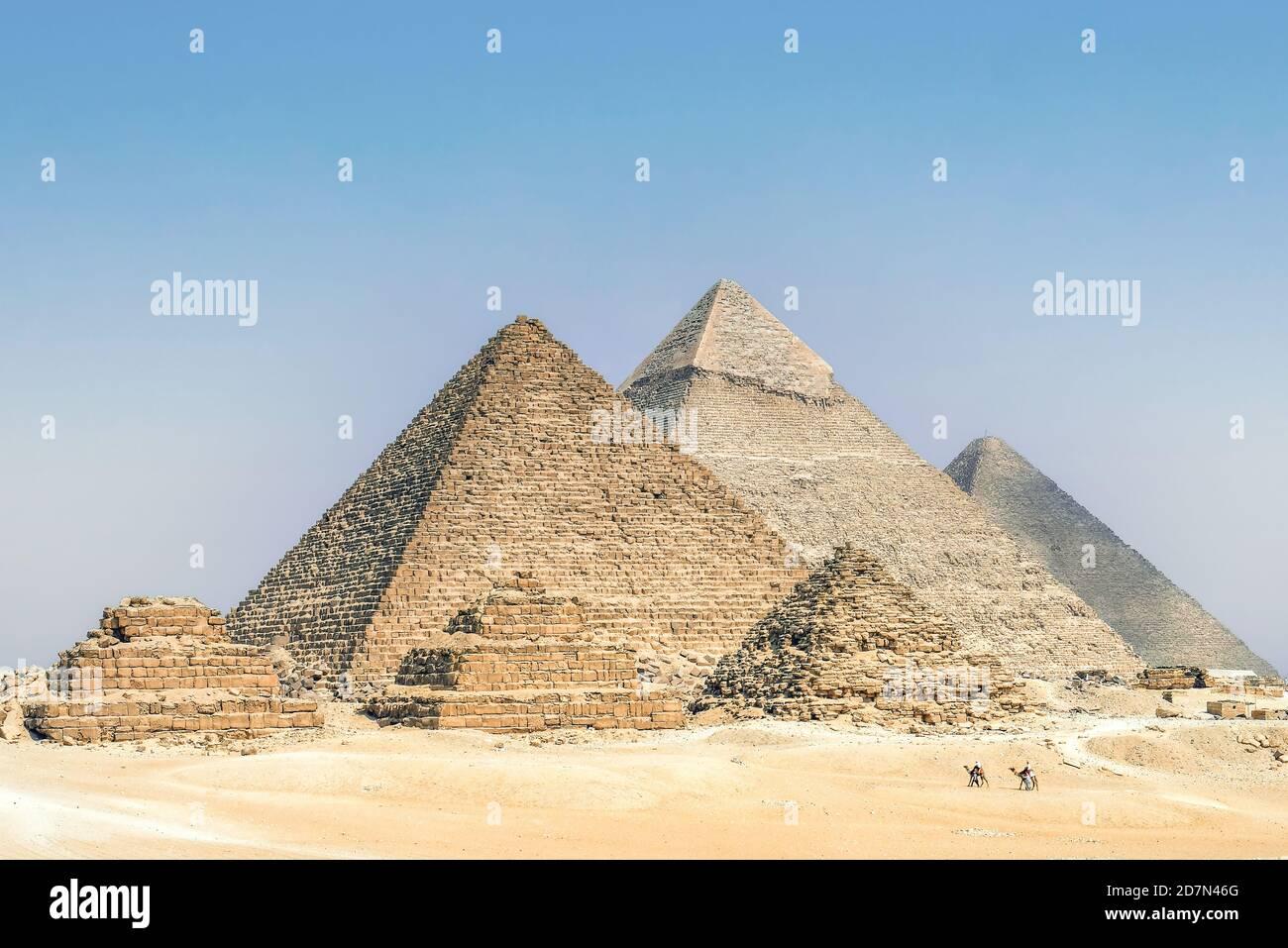 Las Pirámides de Khafre y Khufu, Necrópolis de Giza (Lista del Patrimonio Mundial de la Unesco, 1979), Egipto. Civilización egipcia, Imperio Antiguo, Dinastía IV Foto de stock