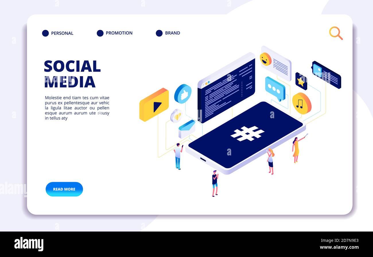 Concepto isométrico de los medios sociales. La gente sigue compartir contenido con teléfonos, citas en línea. Página de aterrizaje de vectores de adicción a teléfonos celulares. Smartphone isométrico, ilustración de la red de redes sociales Ilustración del Vector