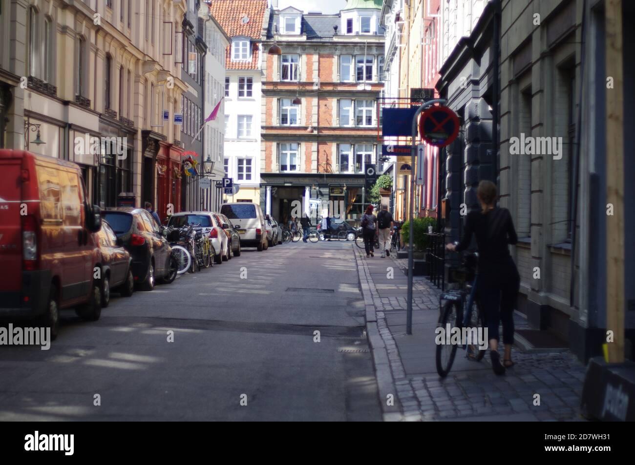 Escena callejera, Copenhague, Dinamarca, Kobenhavn, Danmark Foto de stock