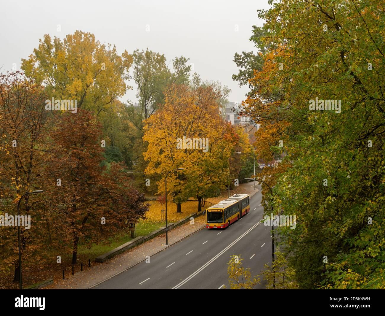 Varsovia/Polonia - 25/10/2020 - calle casi vacía, sólo el autobús público i que conduce por la carretera. Hora de otoño. Foto de stock