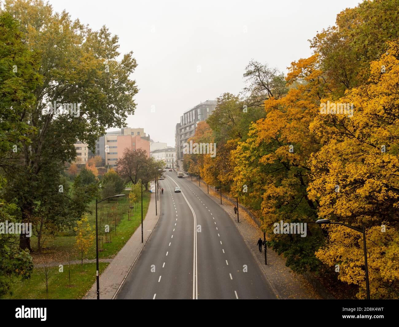Varsovia/Polonia - 25/10/2020 - Calle casi vacía, pocos coches y personas. Hora de otoño. Foto de stock