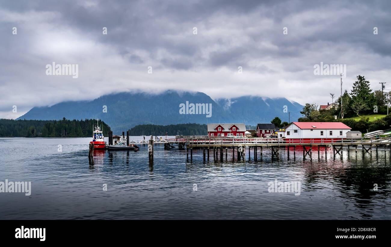 El puerto de la ciudad de Tofino en la costa del Pacífico en la isla de Vancouver, Columbia Británica, Canadá Foto de stock