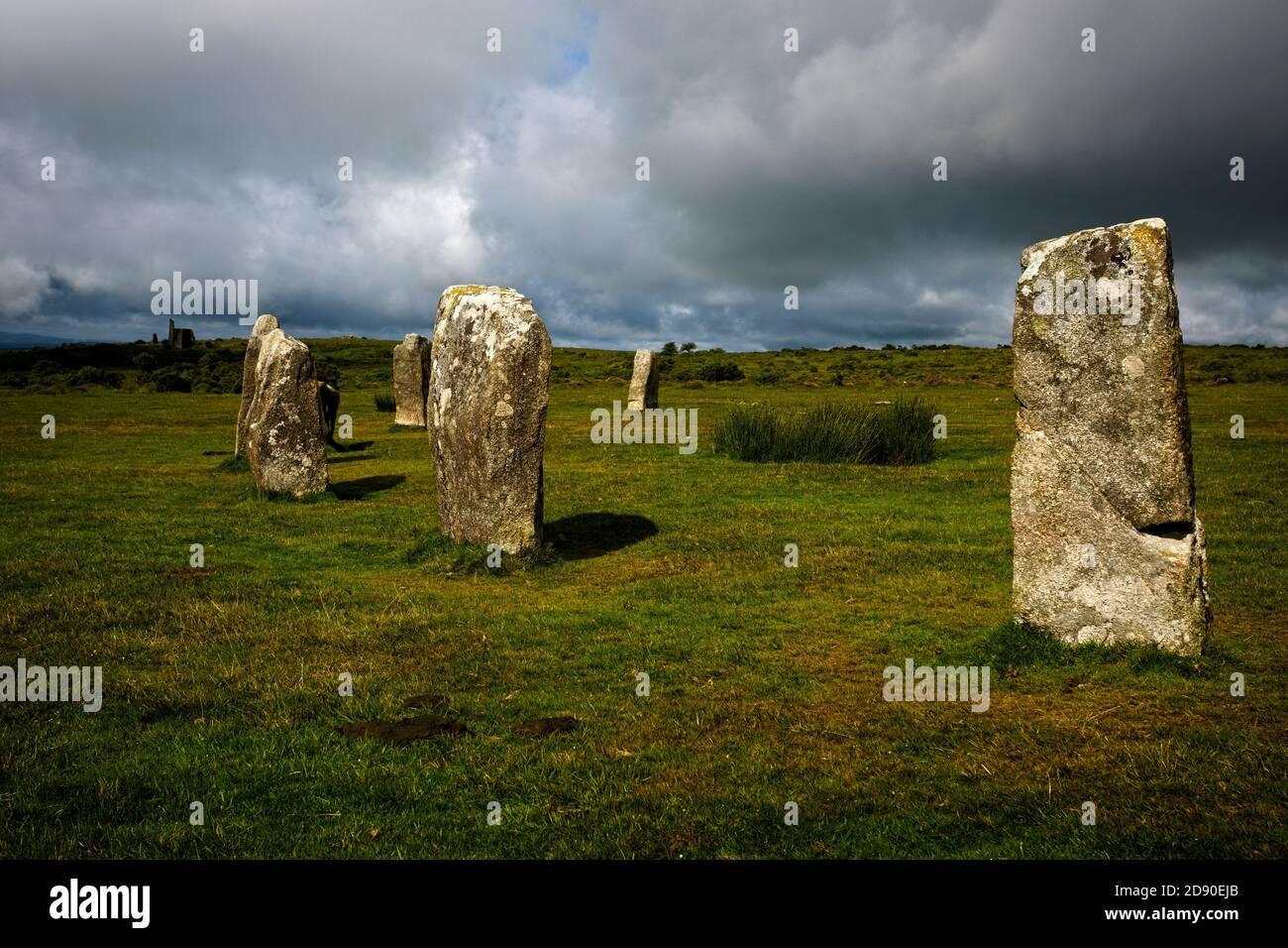 Forma parte de uno de los círculos de Piedra de 'Hurlers', Minions, Cornwall, Inglaterra, Reino Unido. Foto de stock