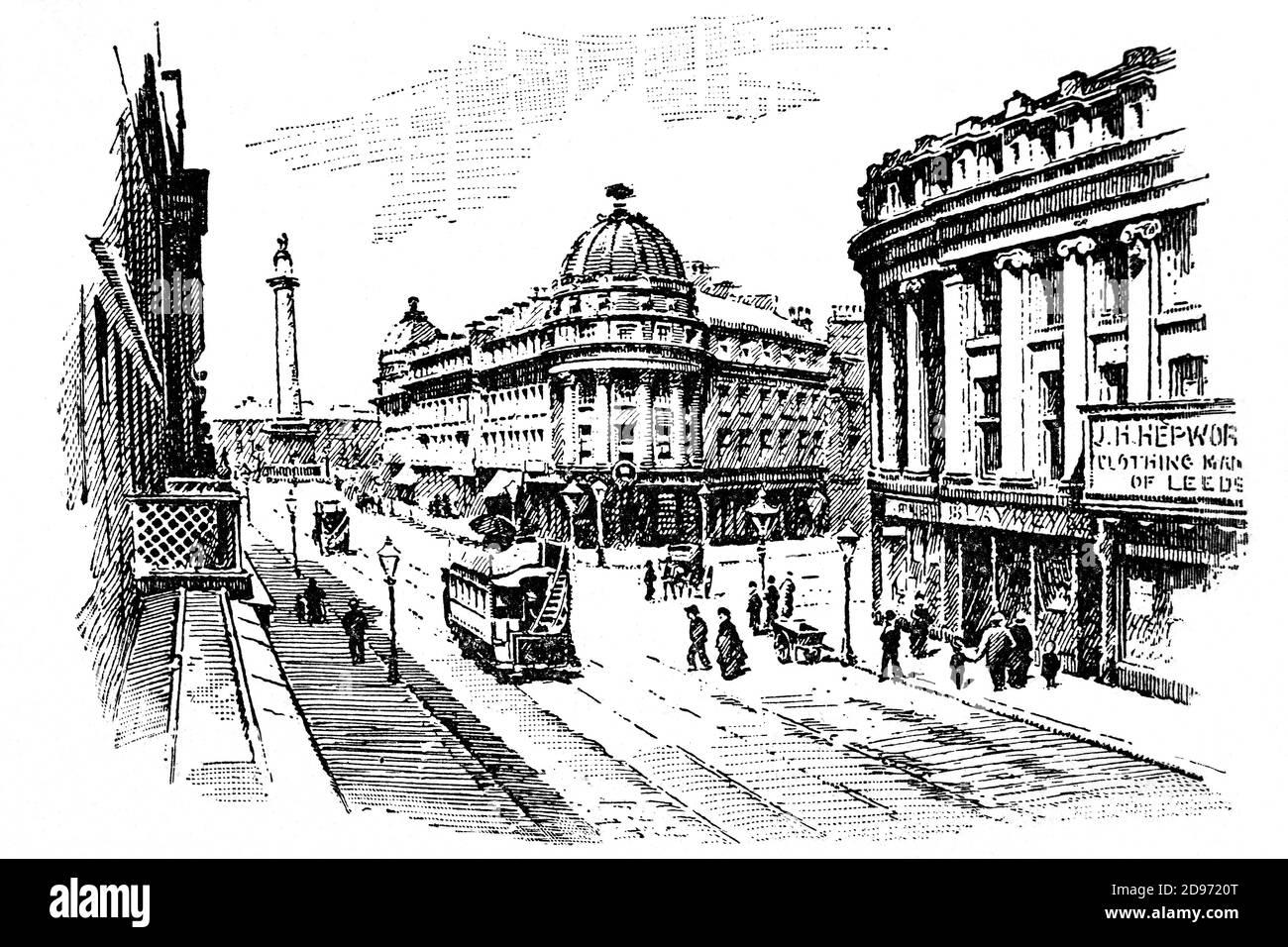 Una vista de finales del siglo 19 de la calle Grainger en el centro de Newcastle-upon-Tyne. El centro de la ciudad fue reconstruido, en su mayoría por tres hombres, John Dobson, un arquitecto, Richard Grainger, un constructor y John Clayton, el empleado de la ciudad. Los tres tienen calles que llevan el nombre de ellos. Foto de stock