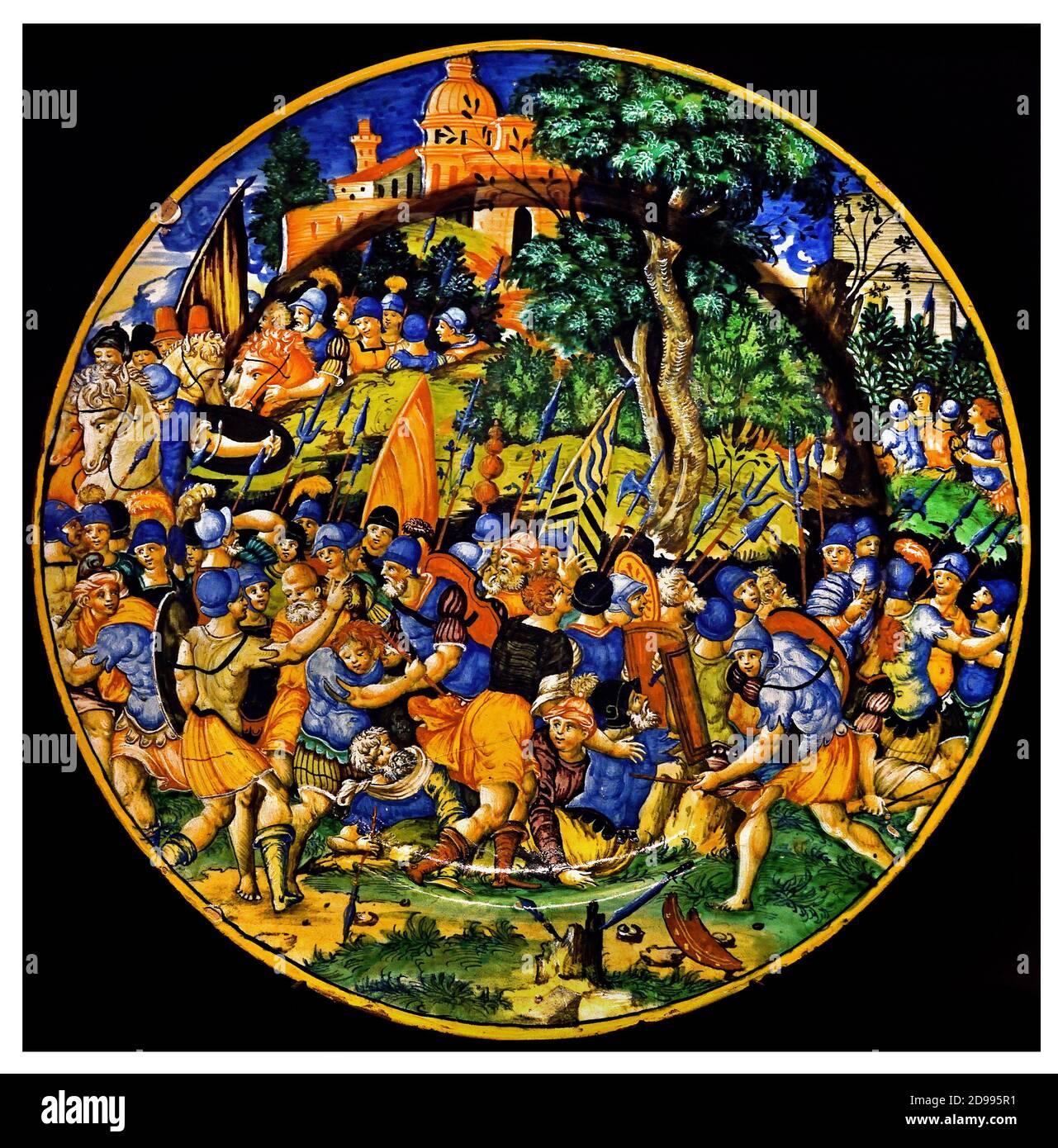 Plato con una batalla entre Julio César y Pompeyo 1543 Orazio Fontana 1510-1571 Urbino ( Pharsalus, en el este de Grecia, fue el lugar de una batalla decisiva en el 48 AEC entre dos de los más grandes generales de Roma: Pompeyo el Grande y Julio César. ) Italia, italiano Foto de stock
