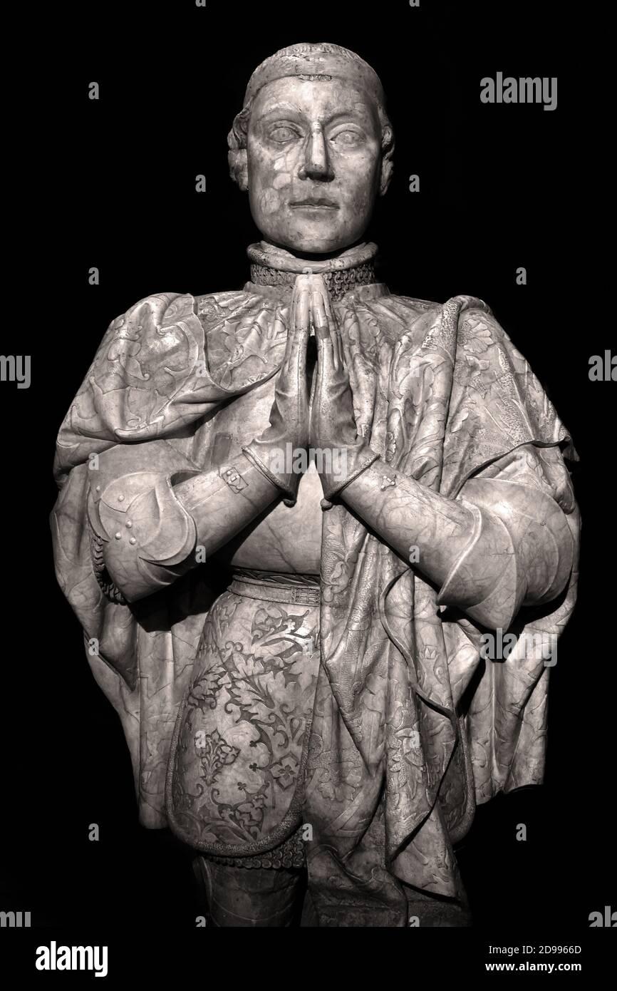 Estatua orante de Pedro I de Castilla (1334–1369) Estatua de Pedro I de Castilla, 1334–1369) España, español. ( Pedro I de Castilla conocido como el cruel o el justo, fue el rey de Castilla y León de 1350 a 1369. ) Foto de stock