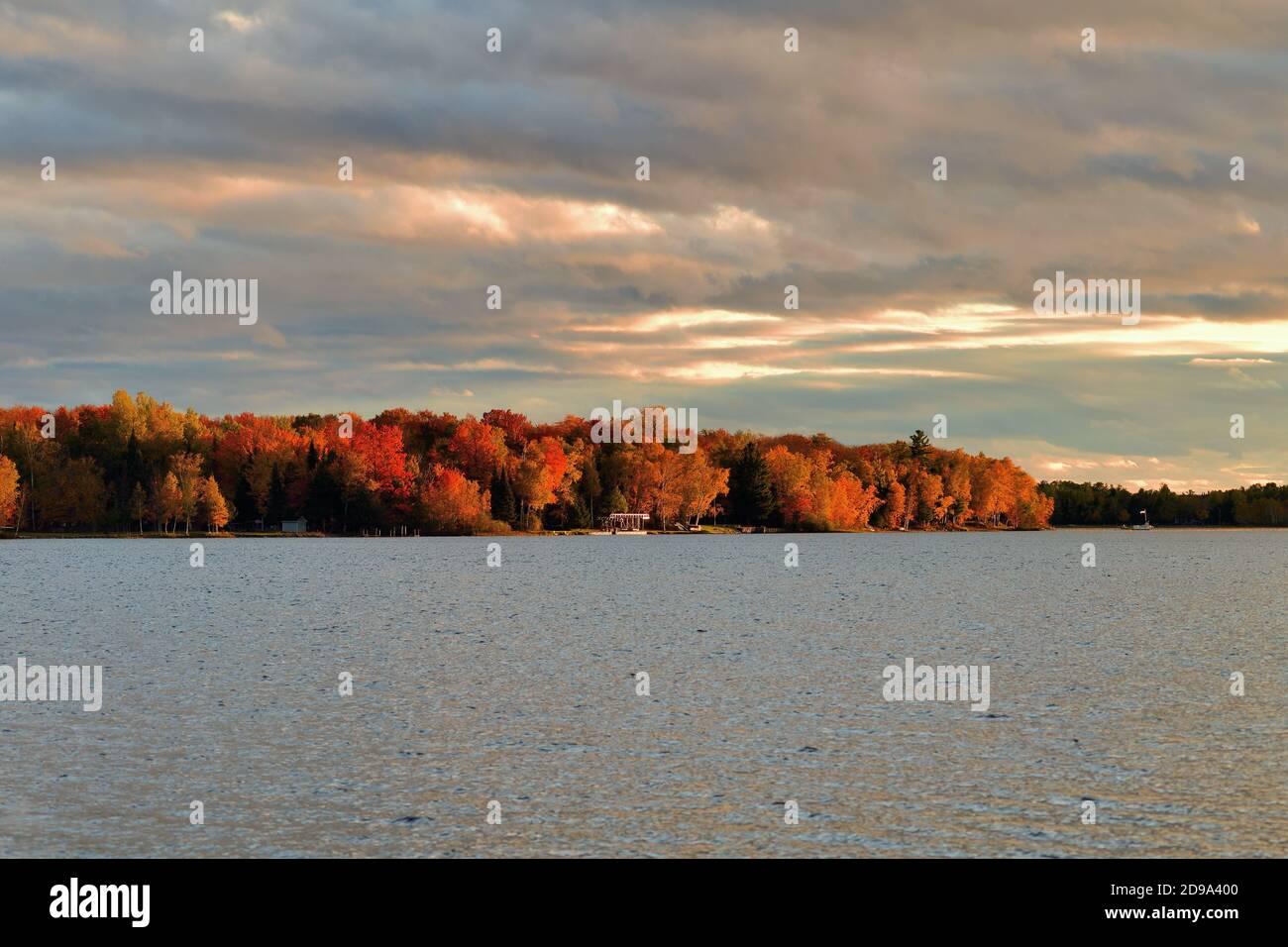 Trout Lake, Michigan, Estados Unidos. El otoño y el sol de última hora de la tarde descienden en un tramo de costa a lo largo del lago Trout en la Península Superior de Michigan. Foto de stock