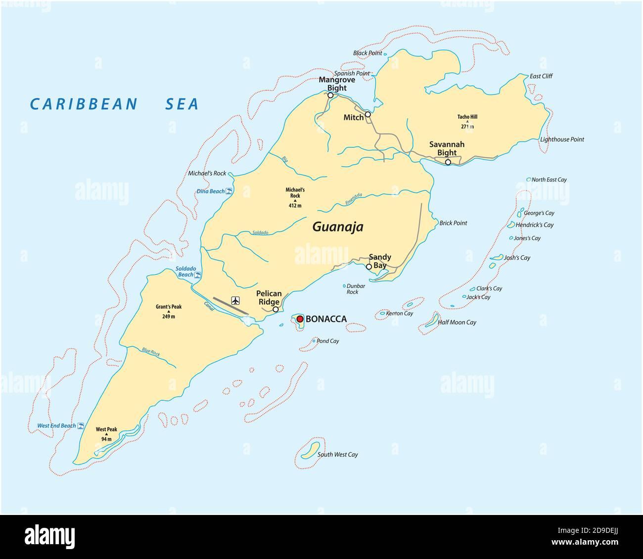 Mapa vectorial de la isla caribeña hondureña de Guanaja, Honduras Ilustración del Vector