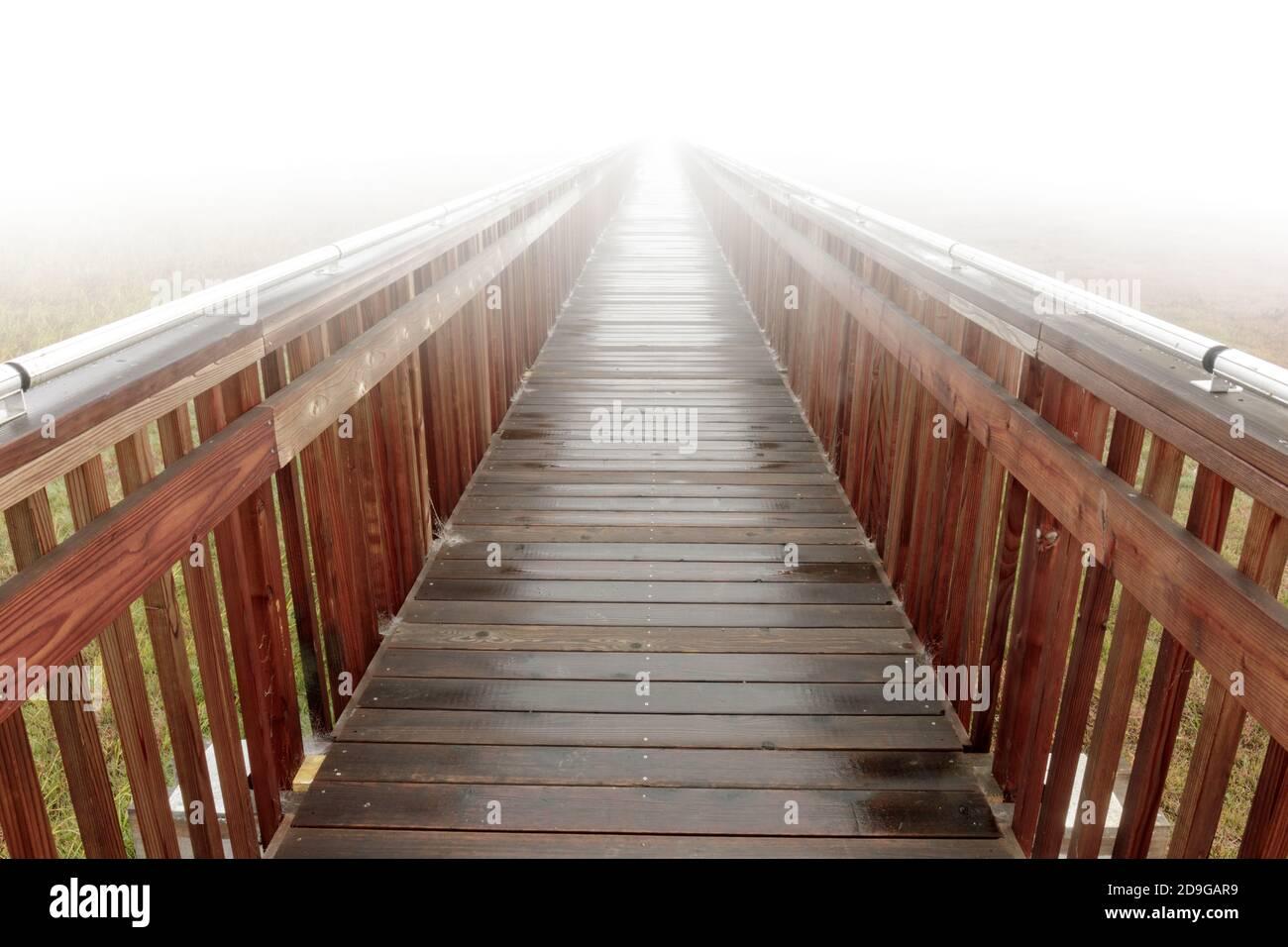Paseo marítimo en espesa mañana niebla Foto de stock