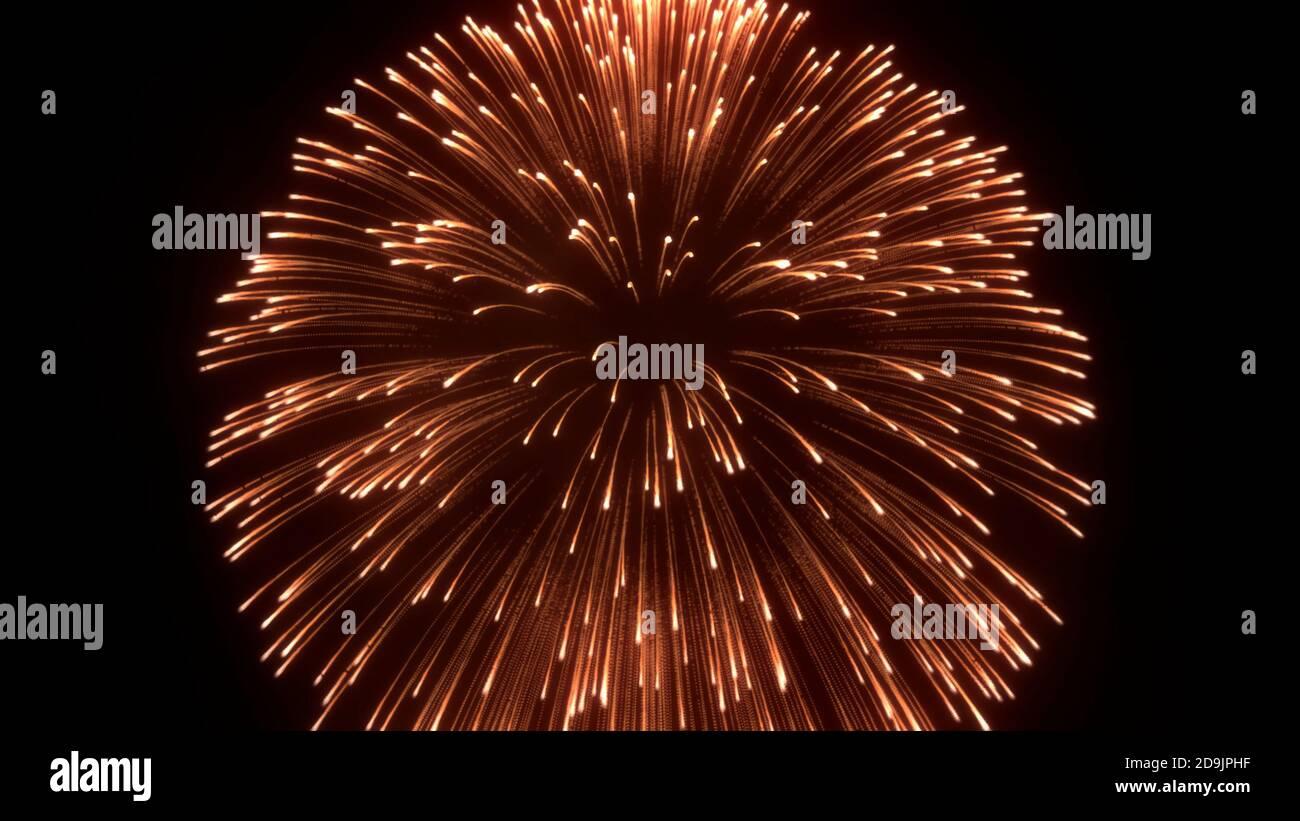 Fuegos artificiales, abstract fuegos artificiales 3D realistas con explosiones de colores y luz brillante en el cielo, fuegos artificiales de fondo, 3D render Foto de stock