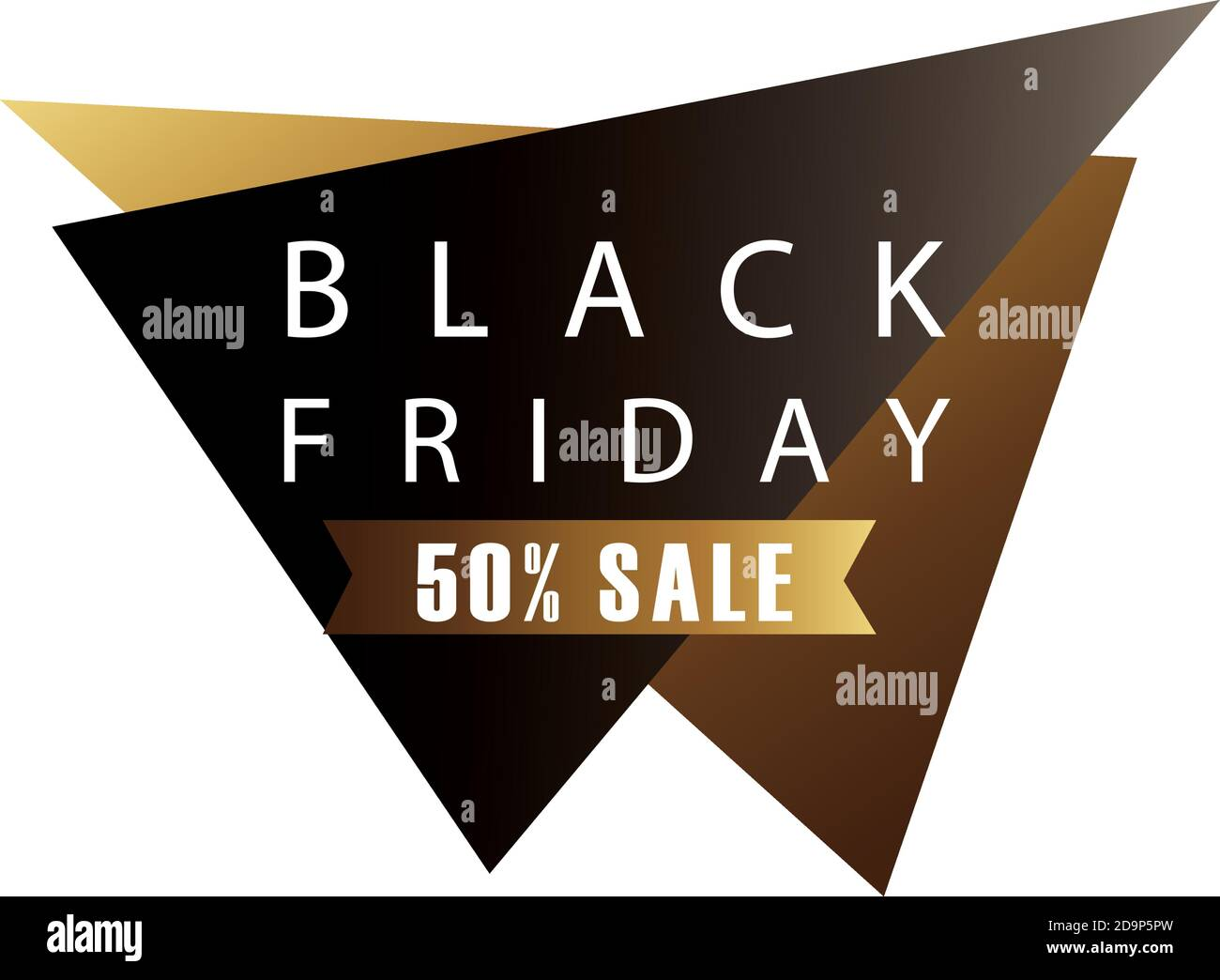 venta de viernes negro letras en figuras triangulares y cinta de oro diseño de ilustración vectorial Ilustración del Vector