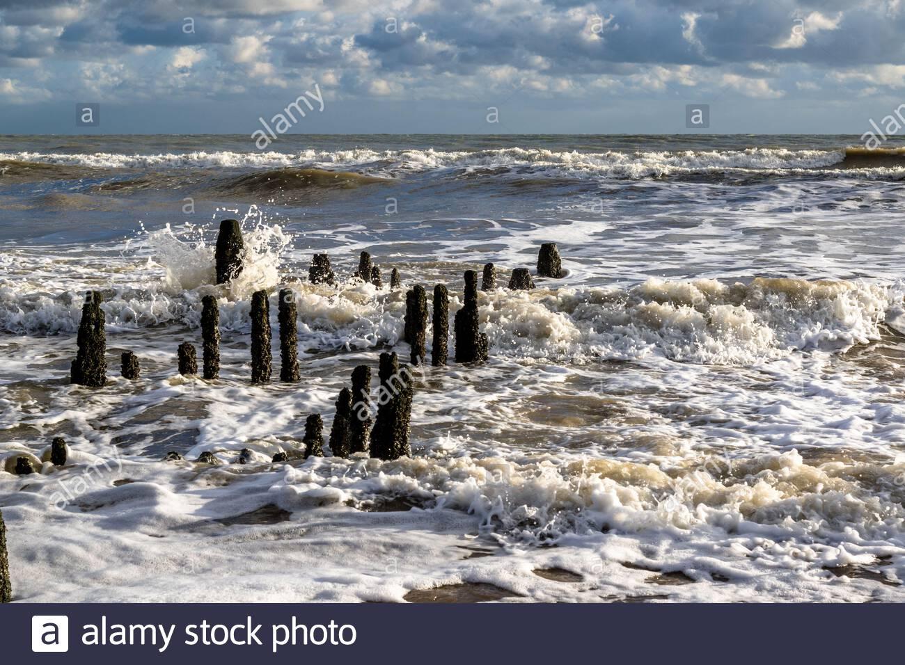 Los mares ásperos rompen sobre los restos de las defensas de madera del mar en el sol de otoño de la tarde, playa de Rye Harbor, Sussex del este, Reino Unido Foto de stock