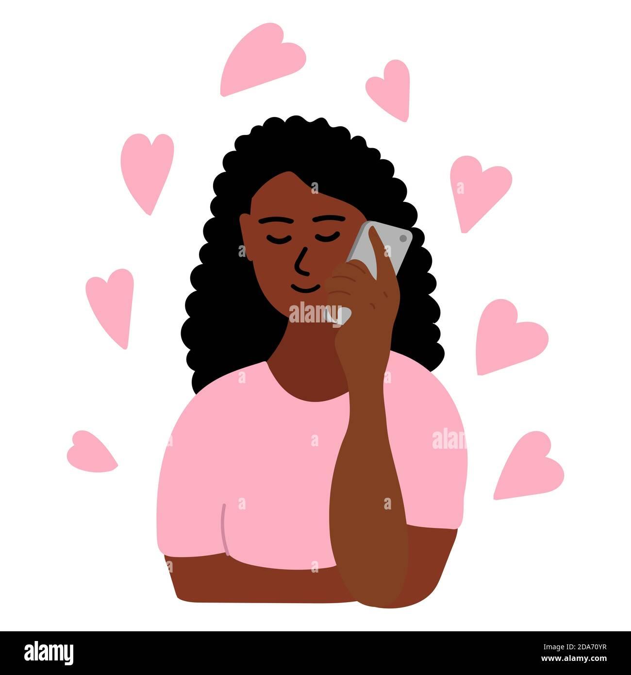 Chica africana de la mano hablando por teléfono. La mujer de piel negra de morena sostiene el smartphone con su mano. Hay muchos corazones rosados a su alrededor Ilustración del Vector