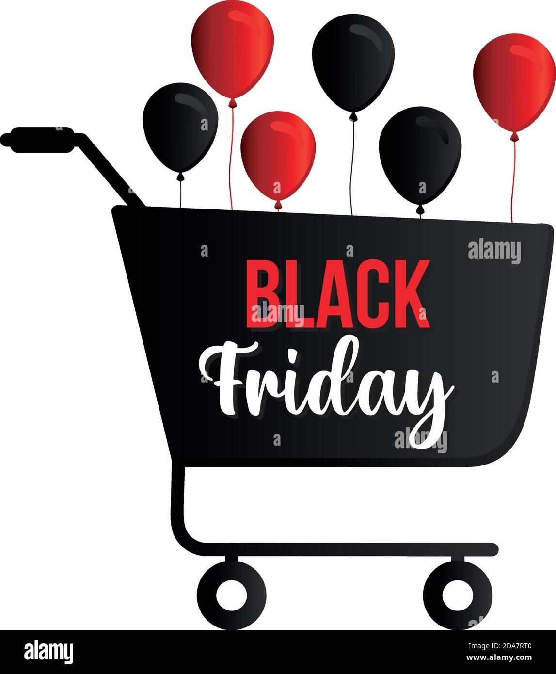 el viernes negro de letras en un carrito de compras con globos Ilustración del Vector