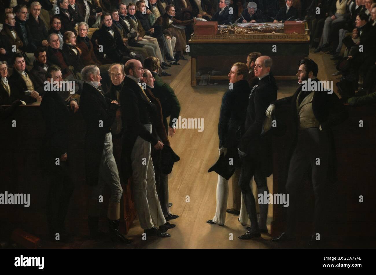 La Casa reformada de los comunes,1833. Pintura de Sir George Hayter (1792-1871). Óleo sobre lienzo, firmado y fechado en 1833-1843. Este cuadro conmemora la aprobación de la Gran Ley de Reforma en 1832, que representa la primera sesión de la nueva Cámara de los comunes el 5 de febrero de 1833, celebrada en la Capilla de San Esteban que fue destruida por el fuego en 1834. Detalle. Sir Francis Burdett, Henry Temple y Richard Grenville. Galería Nacional de Retratos. Londres, Inglaterra, Reino Unido. Foto de stock