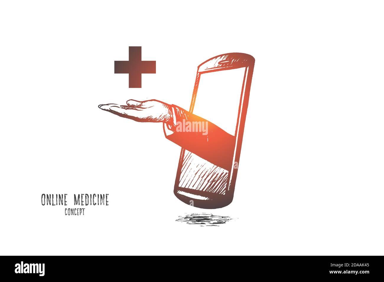 Concepto de medicina en línea. Vector aislado dibujado a mano. Ilustración del Vector