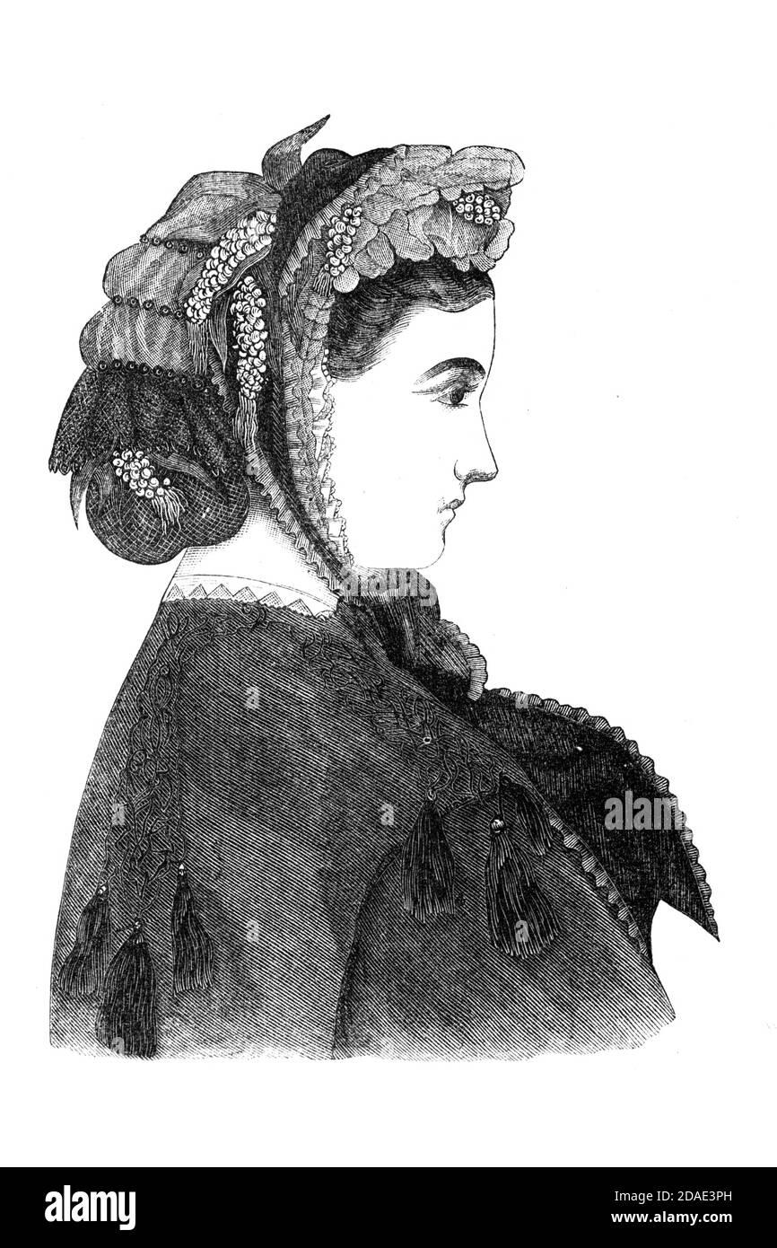 Moda Bonnets 1864 de Godey's Lady's Book and Magazine, diciembre de 1864, volumen LXIX, (volumen 69), Filadelfia, Louis A. Godey, Sarah Josepha Hale, Foto de stock